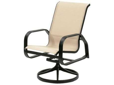 Suncoast Maya Sling Cast Aluminum Arm Swivel Rocker Dining Chair