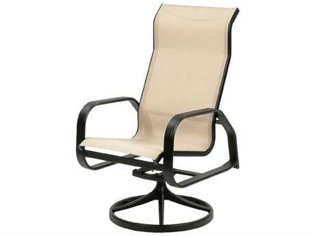 Suncoast Maya Sling Cast Aluminum Arm Swivel Rocker Supreme Dining Chair