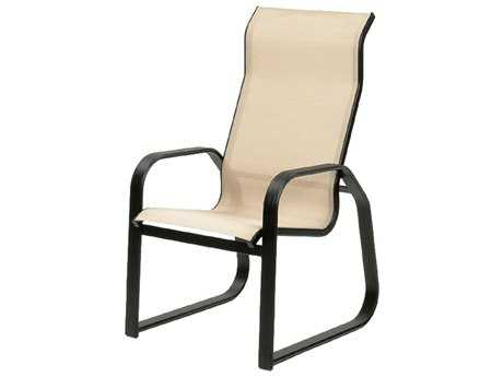 Suncoast Maya Sling Cast Aluminum Arm Supreme Sled Dining Chair PatioLiving