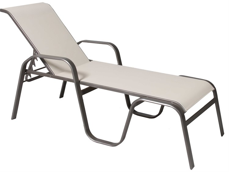 Suncoast maya sling cast aluminum chaise stacking su9343 for Aluminum commercial stack chaise lounge
