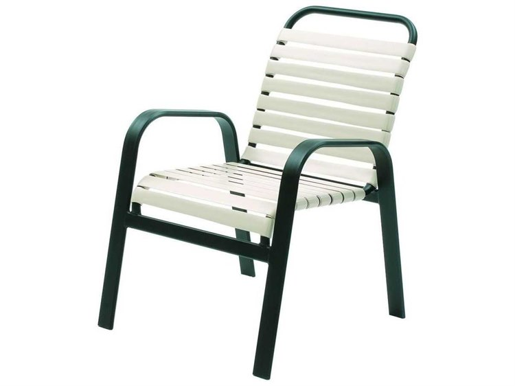 Suncoast Maya Strap Cast Aluminum Arm Stackable Dining Chair PatioLiving