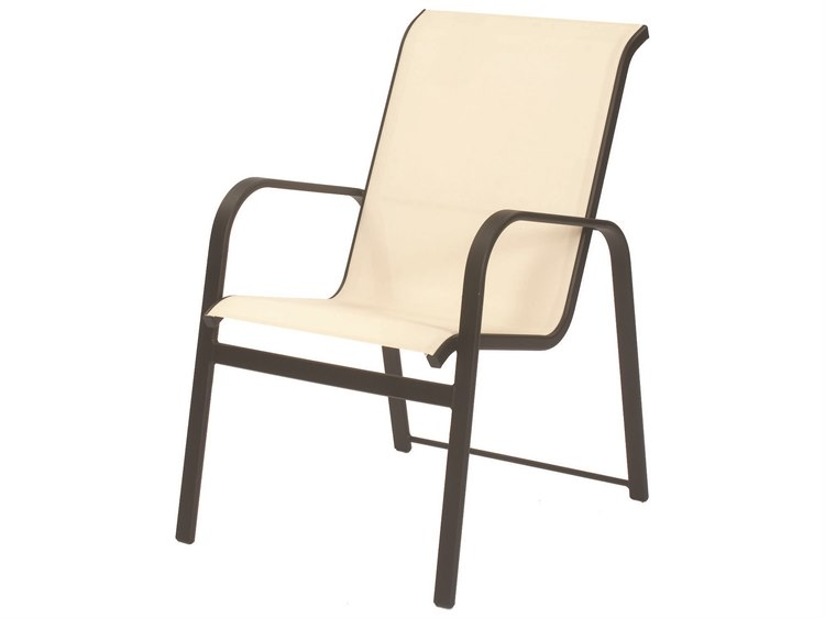 Suncoast Seascape Sling Cast Aluminum Arm Stackable Dining Chair PatioLiving