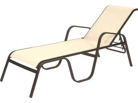 Suncoast Seascape Sling Cast Aluminum Arm Stackable Chaise