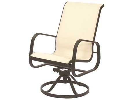 Suncoast Seascape Sling Cast Aluminum Arm Swivel Rocker High Back Dining Chair