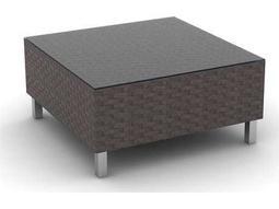 Radiate Linear Wicker 33'' Square Glass Coffee Table