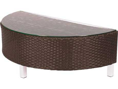 Suncoast Radiate Arc Wicker 48'' x 24'' Half-Round Glass Coffee Table