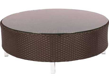 Suncoast Radiate Arc Wicker 48'' Round Glass Coffee Table PatioLiving