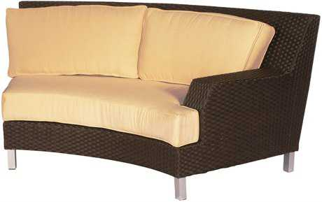 Suncoast Radiate Arc Wicker Cushion Left Arm Loveseat