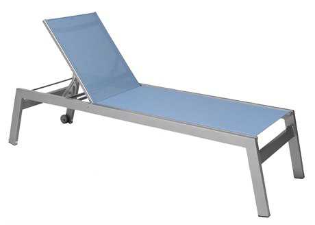 Suncoast Vectra Rise Sling Aluminum Chaise Lounge Armless with Wheels PatioLiving