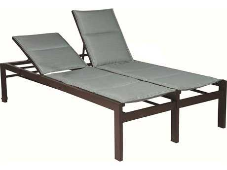Suncoast Vectra Bold Sling Cast Aluminum Double Chaise Lounge