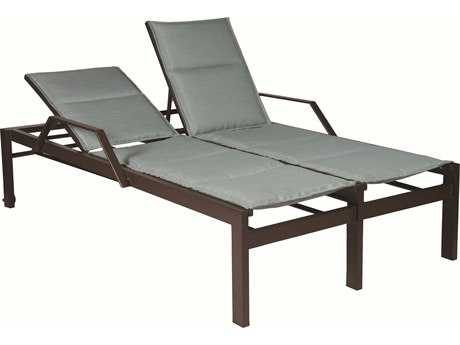 Suncoast Vectra Bold Sling Cast Aluminum Double Chaise Lounge with Wheels