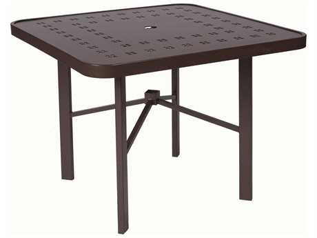Suncoast Vectra Cast Aluminum 36 Square  Dining Table with Umbrella Hole