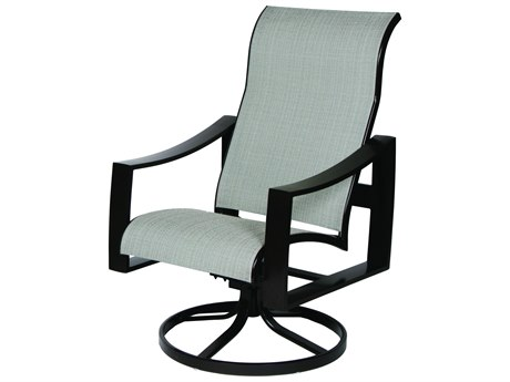 Suncoast Pinnacle Sling Aluminum High Back Swivel Rocker Dining Arm Chair