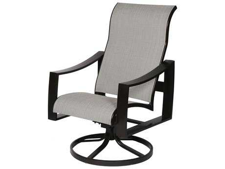 Suncoast Pinnacle Sling Aluminum Supreme Arm Swivel Dining Chair