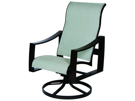 Suncoast Pinnacle Sling Aluminum Supreme Swivel Rocker Dining Arm Chair