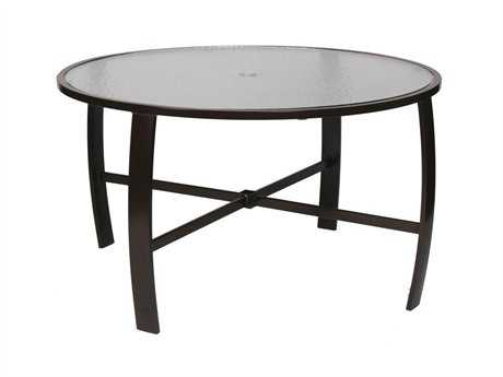 Suncoast Pinnacle Aluminum 44'' Round Glass Dining Table