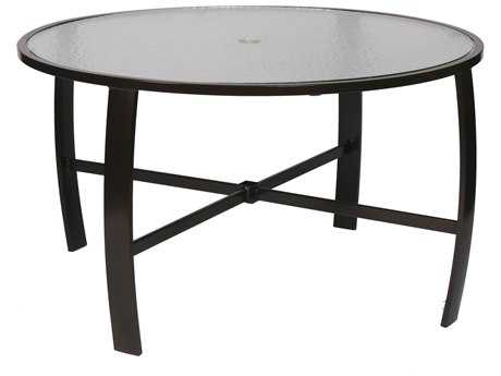 Suncoast Pinnacle Aluminum 50'' Round Glass Dining Table