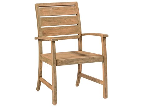 Summer Classics Charleston Natural Teak Dining Arm Chair with Cushion