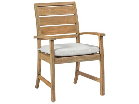 Summer Classics Charleston Natural Teak Dining Arm Chair with Cushion PatioLiving