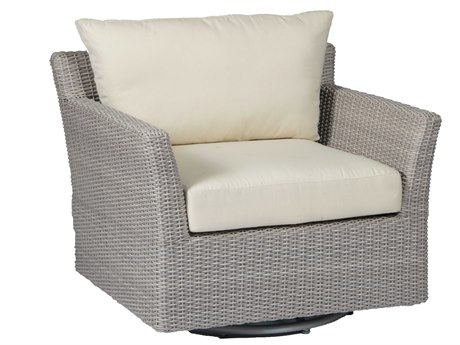 Summer Classics Club Woven Wicker Oyster Swivel Lounge Chair with Cushion