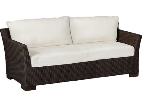 Summer Classics Club Woven Wicker Black Walnut Sofa with Cushion PatioLiving