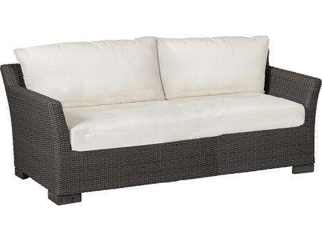 Summer Classics Club Woven Wicker Slate Grey Sofa with Cushion