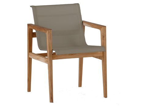 Summer Classics Coast Natural Teak & Heather Grey Sling Dining Arm Chair