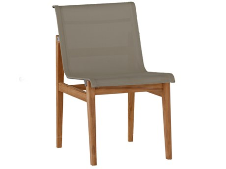 Summer Classics Coast Natural Teak & Heather Grey Sling Dining Side Chair