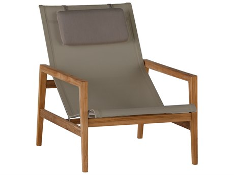 Summer Classics Coast Natural Teak & Heather Grey Sling Lounge Chair