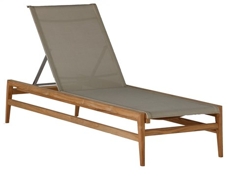 Summer Classics Coast Natural Teak & Heather Grey Sling Chaise Lounge