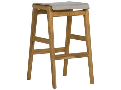 Summer Classics Coast Natural Teak & Phipher Beige Sling Bar Stool PatioLiving