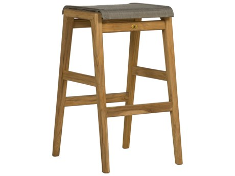 Summer Classics Coast Natural Teak & Heather Grey Sling Bar Stool