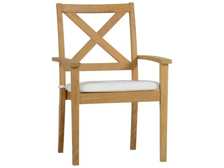 Summer Classics Drake Natural Teak Dining Arm Chair with Cushion
