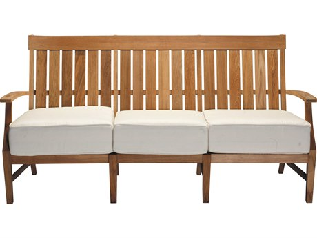 Summer Classics Croquet Natural Teak Sofa with Cushion