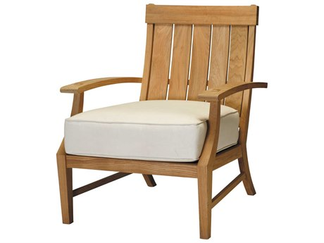 Summer Classics Croquet Natural Teak Lounge Chair with Cushion