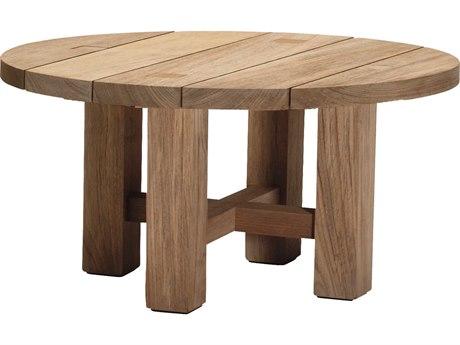 Summer Classics Croquet Teak Natural Teak 40'' Wide Round Coffee Table with Umbrella Whole SUM28394