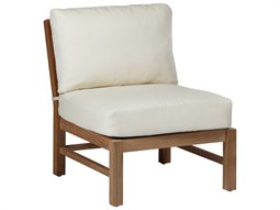 Summer Classics Club Natural Teak Slipper Lounge Chair with Cushion