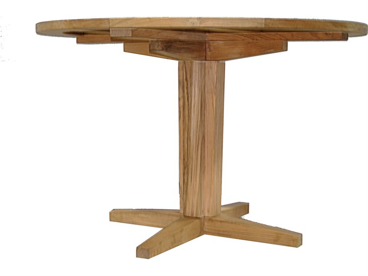 Summer Classics Club Teak Natural Teak Wide Round Pedestal - 28 wide dining table
