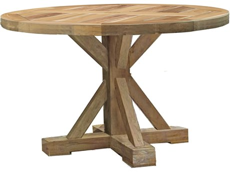 Summer Classics Modena Natural Teak 49'' Wide Round Dining Table with Umbrella Whole