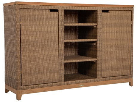 Summer Classics Chesapeake Wicker Teak 60''W x 22''D Rectangular Storage Buffet Table