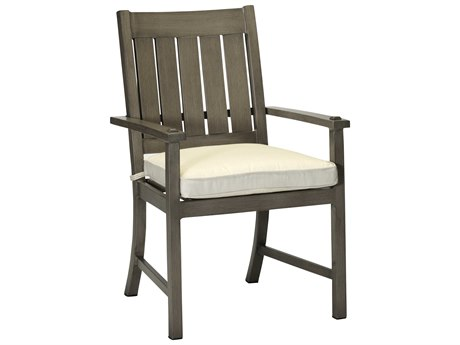 Summer Classics Croquet Aluminum Slate Grey Dining Arm Chair with Cushion