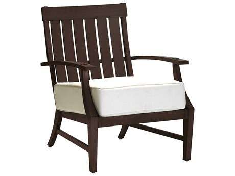 Summer Classics Croquet Aluminum Mahogany Lounge Chair with Cushion