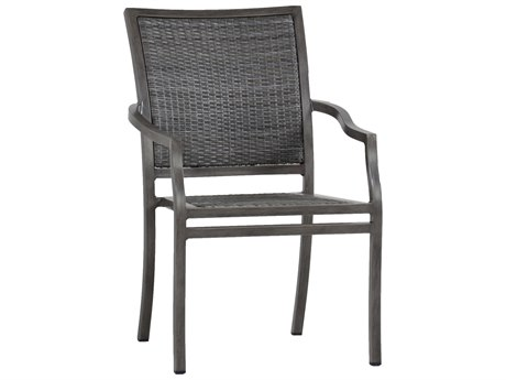 Summer Classics Villa Wicker Slate Grey Dining Arm Chair