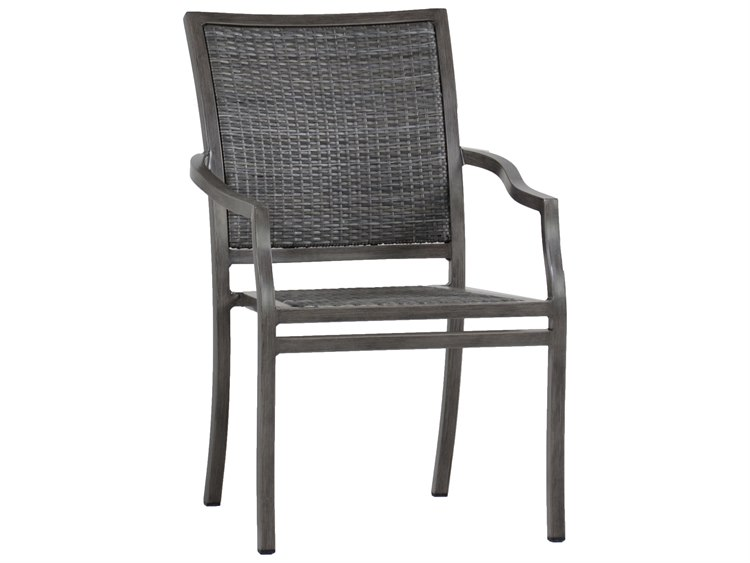 Summer Classics Villa Wicker Slate Grey Dining Arm Chair PatioLiving