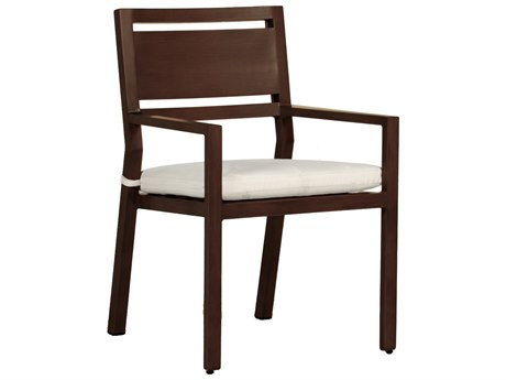 Summer Classics Avondale Aluminum Mahogany Dining Arm Chair with Cushion