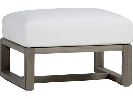 Summer Classics Avondale Aluminum Slate Grey Ottoman with Cushion PatioLiving