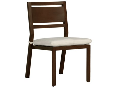 Summer Classics Avondale Aluminum Mahogany Dining Arm Chair with Cushion PatioLiving