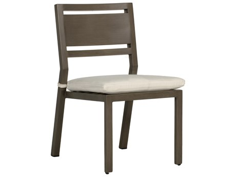 Summer Classics Avondale Aluminum Slate Grey Dining Arm Chair with Cushion PatioLiving