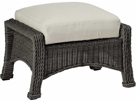Summer Classics Regent Wicker Slate Grey Ottoman with Cushion