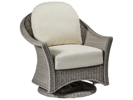 Summer Classics Regent Wicker Oyster Swivel Glider Lounge Chair with Cushion